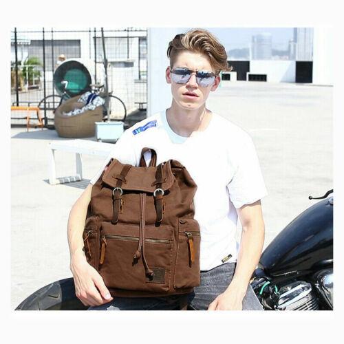 Vintage Canvas Sport Backpack Rucksack Satchel Travel Hiking School Bag-USA