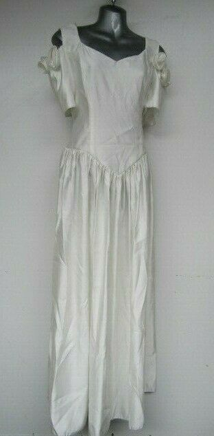 STEVIES GOWNS Wedding Dress Sz 14 Made in UK Satin White Cold Shoulder 3D Roses