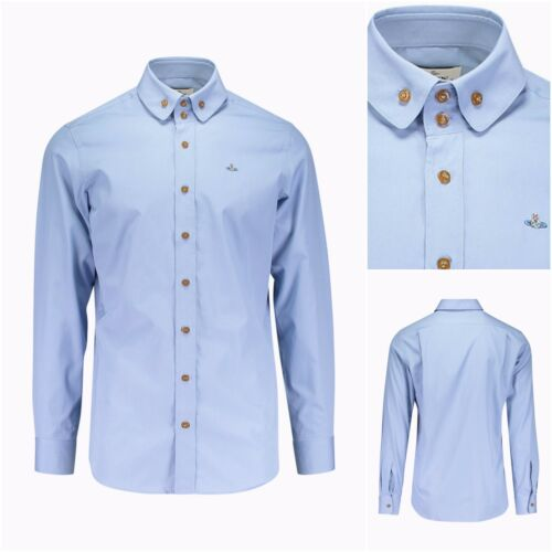 VIVIENNE WESTWOOD SKY 2 BUTTON DOWN COLLAR KRALL ORB LOGO SHIRT. IT 46 SMALL