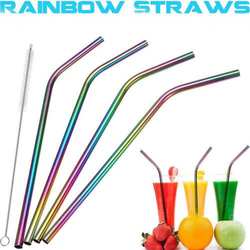 Regenbogen Strohhalme Edelstahl DrinkStraw Metal Drinking Cleaner MehR/_yk