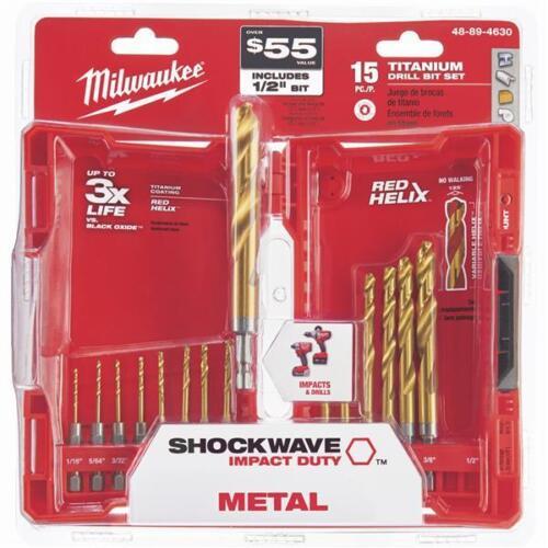 15-Piece Milwaukee Shockwave Impact Duty Titanium Hex Shank Drill Bit Set