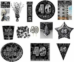 Image Is Loading Glitz Black Silver 40th Birthday Party Tableware Decoration