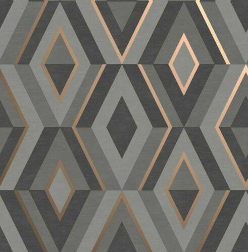 FINE DECOR SHARD DIAMOND GREY ROSE GOLD GEOMETRIC METALLIC WALLPAPER FD42607