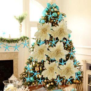5-10Pcs-Glitter-Hollow-Natale-Finta-Fiore-Decorazione-Albero-Natale-Decorazione-Festa-Matrimonio
