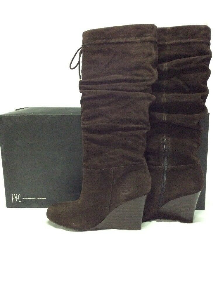INC International Concept Women's Fashion Knee-High Boots, Espresso, Size 9.5 M