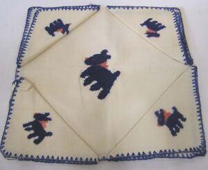 Vintage-Tablecloth-amp-4-Napkins-Needlework-Blue-Scottie-Dogs-32-034-Square