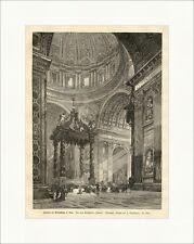 Inneres der Peterskirche in Rom Holzstich Italien Statuen Kreuze Altar E 1413