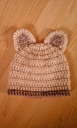 Handmade Hand Crocheted Baby Unisex Beanie Hat with Ears various colours Acrylic
