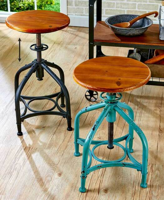 Remarkable Industrial Metal Adjustable Height Swivel Bar Stool In Black Or Distressed Teal Theyellowbook Wood Chair Design Ideas Theyellowbookinfo