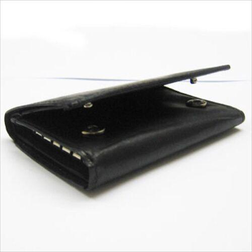 BLACK GENUINE LEATHER KEYS Chain Ring Holder Wallet Case #212 New Plain Slim