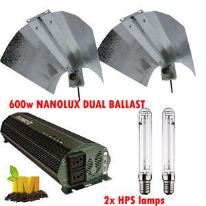 Dual-Nanolux-Digital-Ballast-600W-Hydroponic-Grow-Light-HPS-Lamps-Reflector-Kit