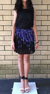 GORGEOUS-PINKO-BLACK-Embellished-Blue-Sequins-Party-Pleated-Dress-Skirt-US2