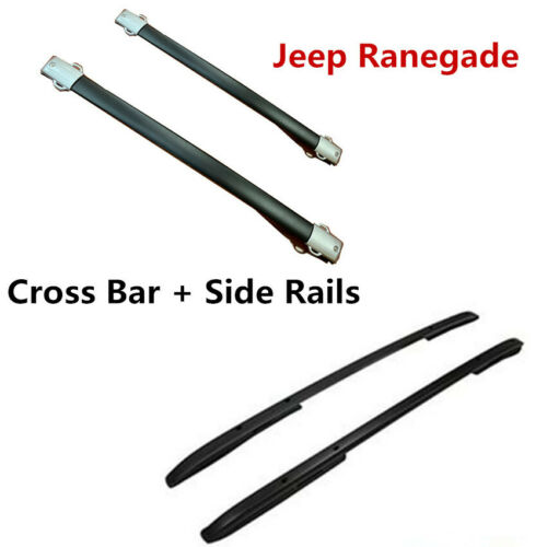For 15-18 Jeep Renegade Black Roof Rack Side Rails+Cross Bar 4PCS OE Style Set