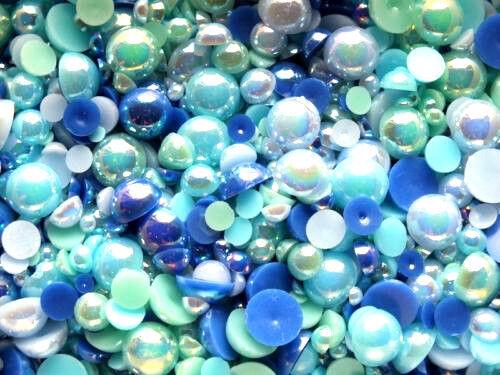 CandyCabsUK 50g Mixed Flatback Faux Half Pearls Cabochons BULK BUY Ocean Blue