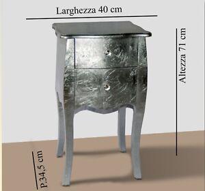 COMODINO-2-CASSETTI-IN-LEGNO-FOGLIA-ARGENTO-CON-POMELLI-IN-CRISTALLO-ARREDO-CASA