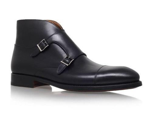 Gli UOMINI FATTI A MANO NERO DOUBLE alta MONK STRAP Boot di alta DOUBLE qualità Pure Scarpe Di Pelle fdd916