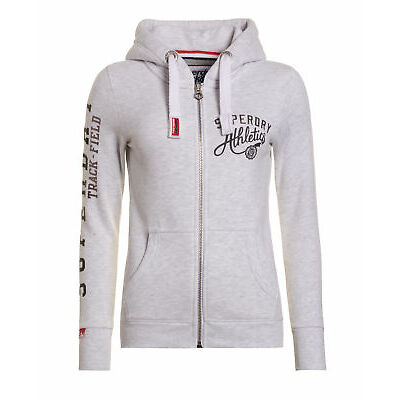 New Womens Superdry Track & Field Ziphood Ice Marl