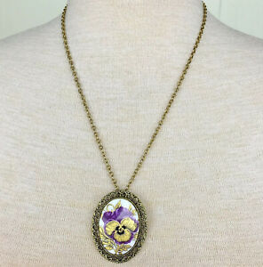 Vintage-Purple-amp-Gold-Pansy-Porcelain-Necklace-Free-Shipping