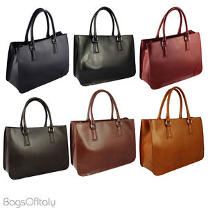 Image is loading Giglio-Ladies-Italian-Leather -Double-Compartment-Cowhide-Briefcase- ede4f293cd