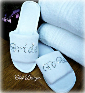 Image Is Loading Personalised Slippers Diamante Wedding Spa Guest Shoes Towelling