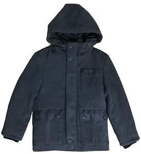 BOYS-DUFFLE-COAT-GREY-QUILTED-HOODED-SMART-EX-UK-STORE-5-16-YEARS-RRP-26-NEW