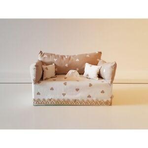 Divanetto Porta Fazzoletti.Dettagli Su Divanetto Portafazzoletti In Tessuto Cuori Beige E Bianco