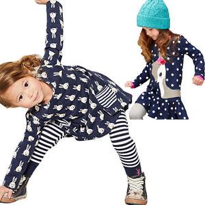 Baby-Girl-Kids-Long-Sleeve-Tops-T-Shirt-Dress-Pants-Leggings-Clothes-Outfits-Set