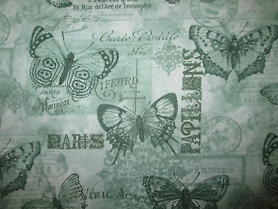 Paris Butterfly French Writing Scribe Post Marks Green Cotton Fabric BTHY