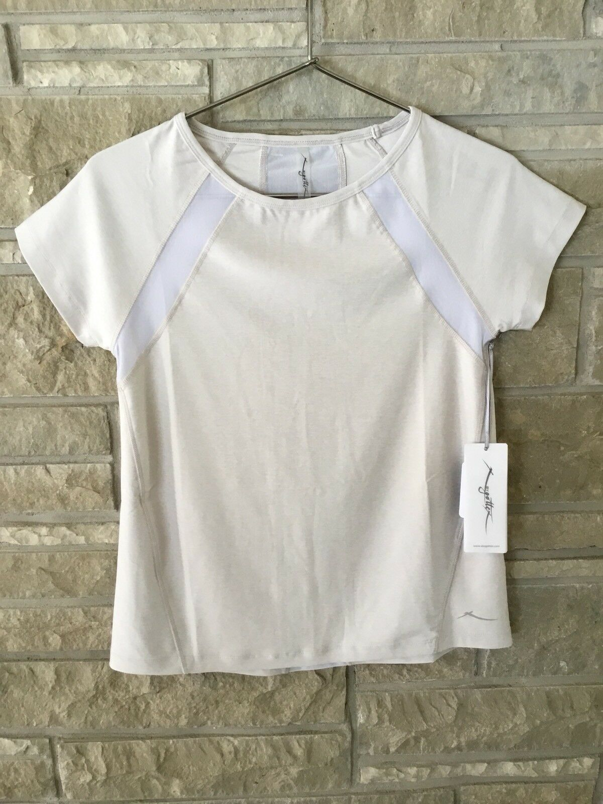 X BY GOTTEX WOMENS SHIRT CREAM & WHITE SIZE (S) MSRP BRAND NEW WITH TAGS