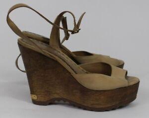 996e4be3d7e Juicy Couture Tan Leather Wood Ankle Strap Platform Wedge Sandals Sz ...