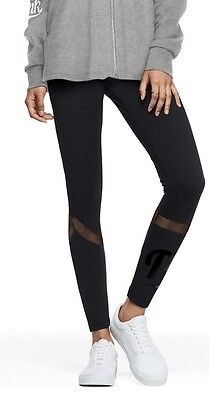 NWT VICTORIA/'S SECRET PINK S BLACK WHITE LOGO STRAPPY ULTIMATE YOGA LEGGINGS