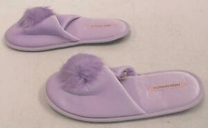 2f4ab677328f5 Victoria's Secret Women's Fuzzy Pom-Pom Slide Slippers MC7 Lavender ...