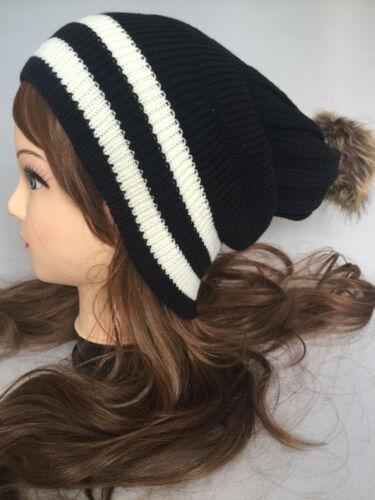 Women men Winter Warm Knit Slouchy Beanie baggy Oversized Thick Bubble Hat Cap