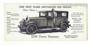 Amical Le Nouveau Nash Advanced Six Berline Theodore Suess Concessionnaire Lancaster N.y. Buvard-afficher Le Titre D'origine