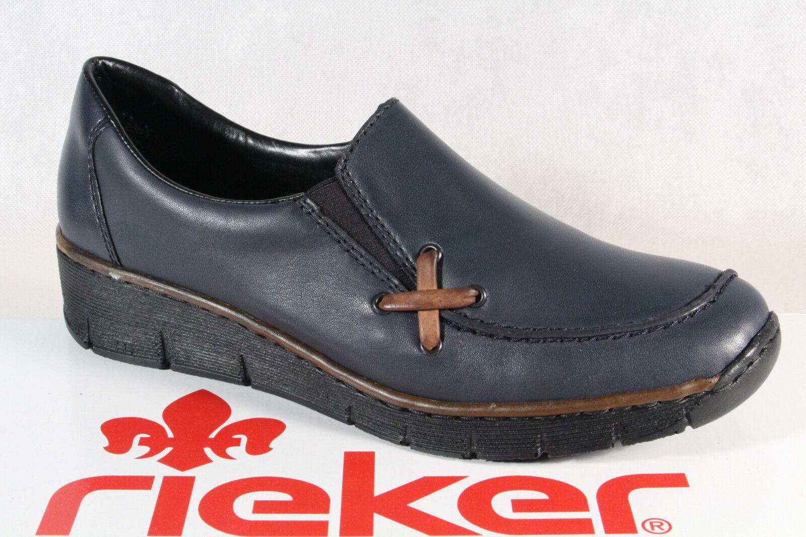 prezzo ragionevole Rieker Donna Mocassini Mocassini Mocassini Scarpe Basse, scarpe da ginnastica pelle Blu 53783 Nuovo  negozio fa acquisti e vendite