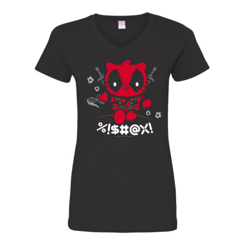 Women/'s V-Neck T-Shirt Deadly Kitty Deadpool Hello Kitty OffWorld Designs