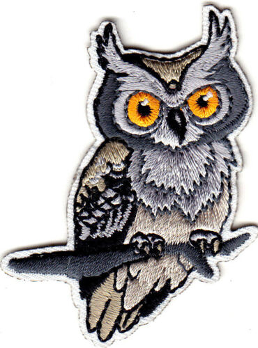 HORNED OWL Nature Birds Iron On Embroidered Applique Patch
