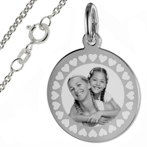 Inkl pers Fotogravur mit Herz Umrandung-runde Gravurplatte-Silber925 Kette