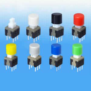 40~480Pcs 6x5mm Self-locking Tactile Button PCB Cap 7-Color for 5.8~8.5mm Switch