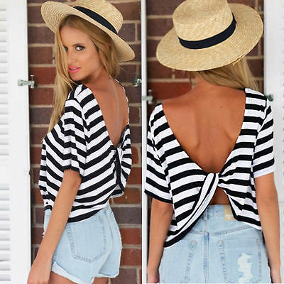 Backless Sexy Loose Casual T-shirt Women Fashion Short Sleeve Summer Tops Blouse