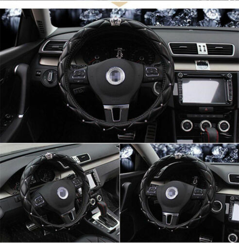Luxury Crystal Car Steering Wheel Cover Pouch Soft PU Leather Universal 38cm UK