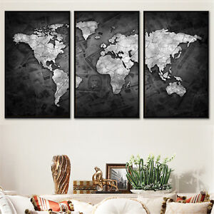 Set 3 Abstract Art Canvas Print Watercolor World Map Paint