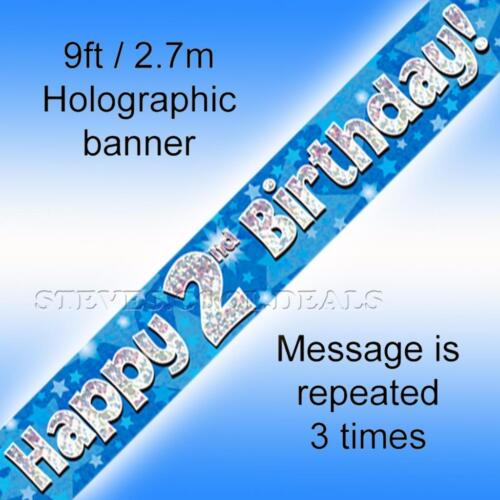 2.7m Banners Holographic Foil HAPPY BIRTHDAY Party Banner BLUE BOYS MEN 9ft
