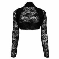 New Womens Floral Long Sleeve Lace Bolero Cropped Plus Size Shrug Top 16-22