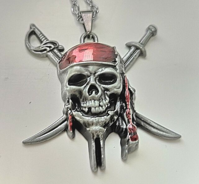 Pirates of the Caribbean Silver Collier Perle Noire navire Costume Bijoux USA