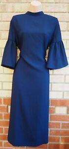 Azul-Marino-Cuello-Alto-Manga-Corta-de-FLARE-Slip-Holgado-Tunica-formal-vestido-de-cambio-de-14-L