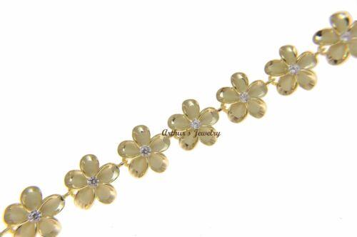 "YELLOW GOLD PLATED SILVER 925 HAWAIIAN FANCY PLUMERIA LINK BRACELET CZ 12MM 7/""+"