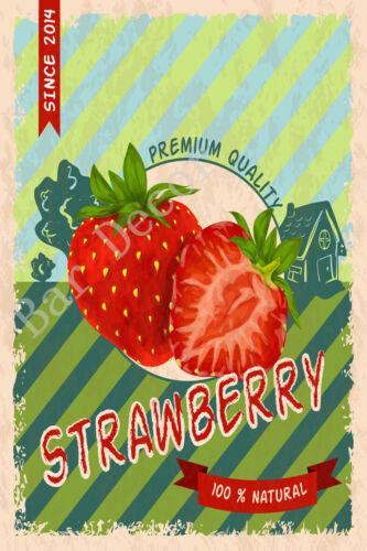Cherry Vintage Metal Tin Signs Fruits Retro Fresh Farm Art Wall Decor Poster