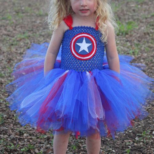 Mädchen Prinzessin Kostüm Kinder Superheld Cosplay Fasching Karneval Party Kleid