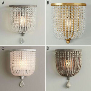 Country-Style-One-Light-Sconce-Wood-Crystal-Beaded-Decorative-Indoor-Wall-Lamp